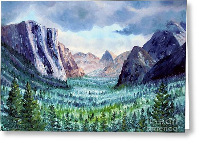 El Capitan Paintings Greeting Cards - Misty Yosemite Valley Greeting Card by Laura Iverson