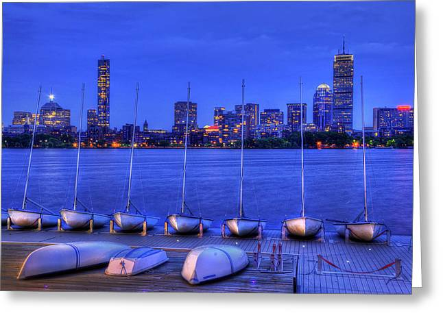 Charles River Greeting Cards - MIT Sailing Pavilion and the Boston Skyline at Night Greeting Card by Joann Vitali