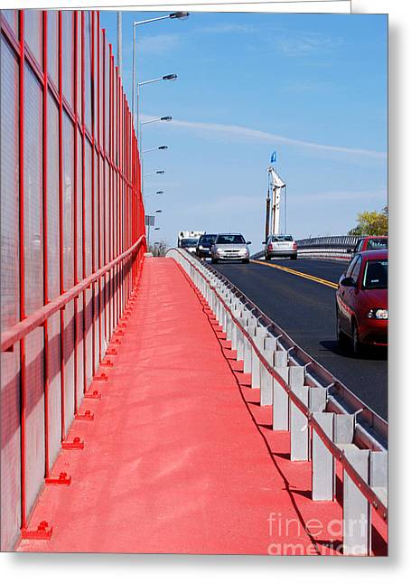Traffic Control Greeting Cards - Mitigating Noise Barrier Or Soundwall On Roadway  Greeting Card by Arletta Cwalina