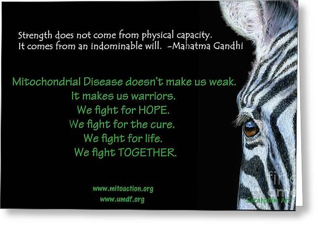 Mito Awareness Zebra Greeting Card by Sarah Batalka