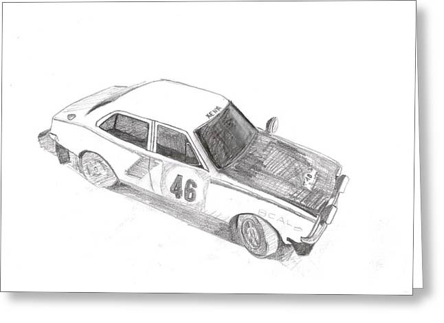 Rally Drawings Greeting Cards - Mitsubishi Lancer 1600 GSR Rally Car 1974 Greeting Card by Mark Irvine