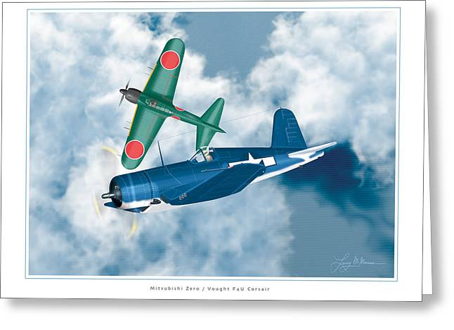 Aircraft Artwork Greeting Cards - Mitsubishi Zero and Vought F4-U Corsair Greeting Card by Larry McManus