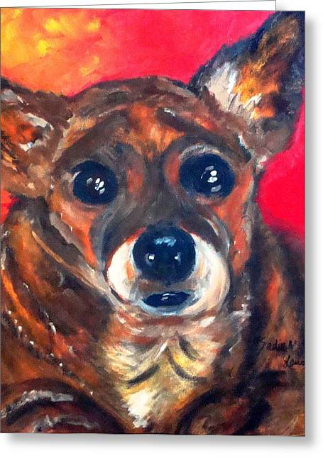Toy Dogs Mixed Media Greeting Cards - Mixed Breed- Sadie My Girl Greeting Card by Laura  Grisham