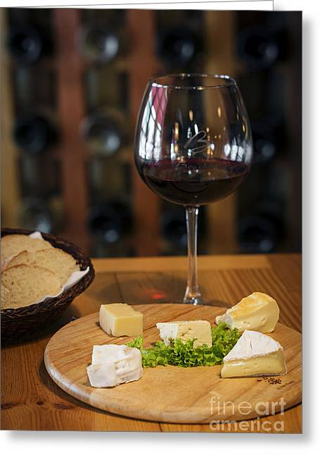 Menu Greeting Cards - Mixed French Cheese Platter With Bread And Wine Greeting Card by Jacek Malipan