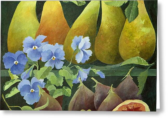 Pear Paintings Greeting Cards - Mixed fruit Greeting Card by Jennifer Abbot