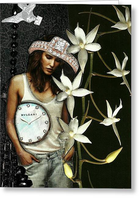 Mixed Media Collage Lost In Thought Greeting Card by Lisa Noneman