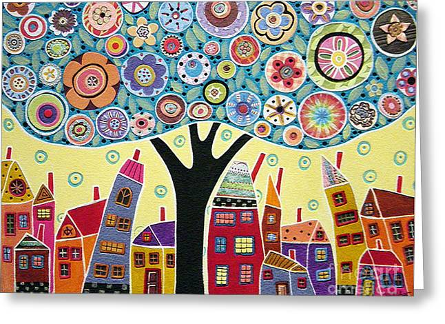 Karla G Greeting Cards - Mixed Media Collage Tree and Houses Greeting Card by Karla Gerard