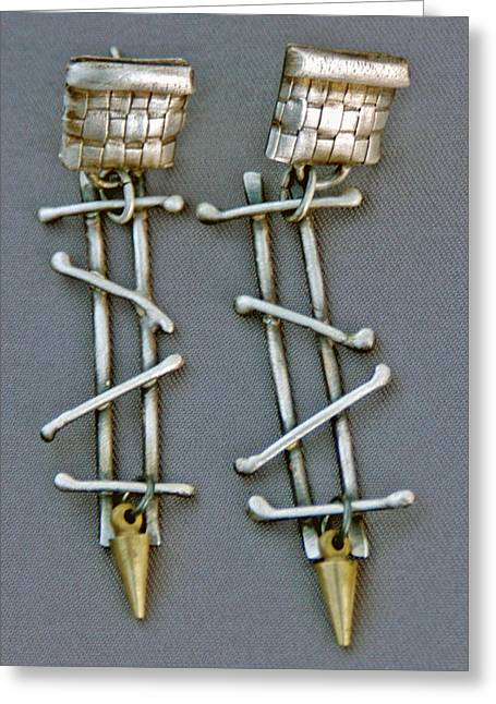 Fine Jewelry Greeting Cards - Mixed Metal Earrings Greeting Card by Mirinda Kossoff