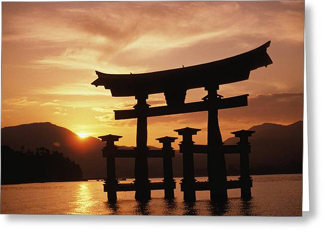 Culture Influenced Art Greeting Cards - Miyajima Torii Greeting Card by Rita Ariyoshi - Printscapes