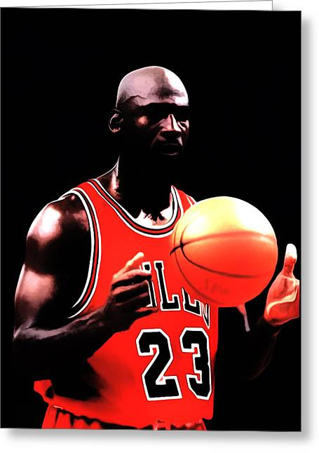Pippen Mixed Media Greeting Cards - MJ Focus Greeting Card by Brian Reaves