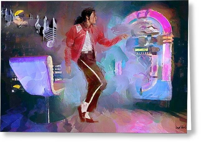 Mj Paintings Greeting Cards - M J - Legend Greeting Card by Wayne Pascall