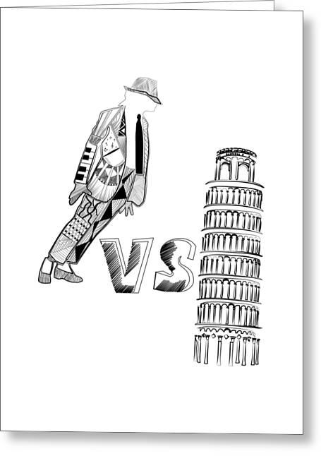 Mj Vs Pisa Greeting Card by Serkes Panda