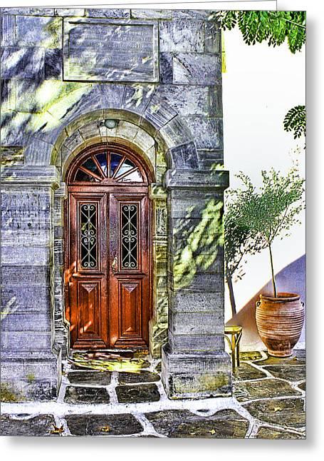 Entrance Door Greeting Cards - Mkkonos 1912 Greeting Card by Tom Prendergast