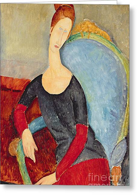Hebuterne Greeting Cards - Mme Hebuterne in a Blue Chair Greeting Card by Amedeo Modigliani