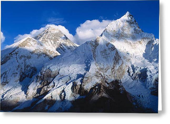 Mountain Greeting Cards - Mnts Everest & Nuptse Sagamartha Greeting Card by Panoramic Images