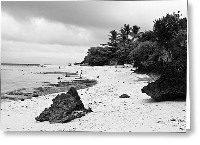 Filipino Arts Greeting Cards - Moalboal Cebu White Sand Beach in Black and White Greeting Card by James BO  Insogna