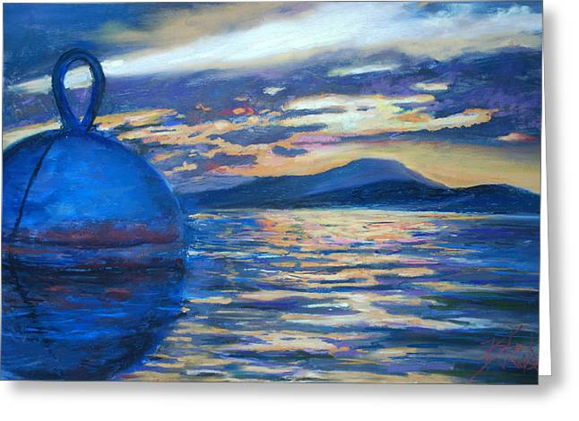 Thomas Pastels Greeting Cards - Moaring Ball Overlooking St. John Greeting Card by Billie Colson