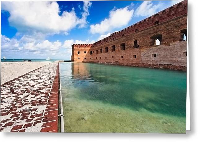 Dry Tortugas National Park Greeting Cards - Moat and Walls of Fort Jefferson Greeting Card by George Oze