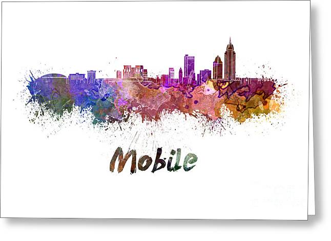 Art Mobiles Greeting Cards - Mobile skyline in watercolor Greeting Card by Pablo Romero