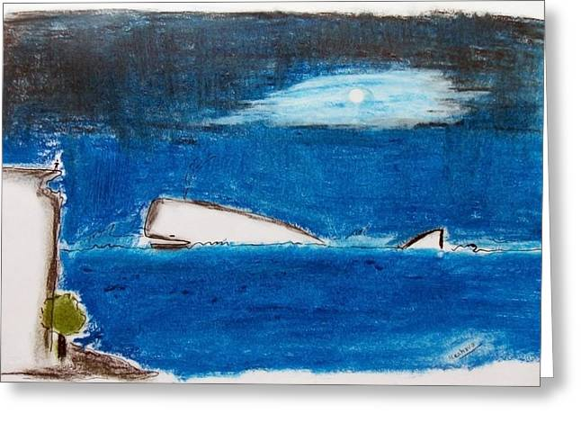 Whale Pastels Greeting Cards - Moby Dick Greeting Card by Keshava Shukla