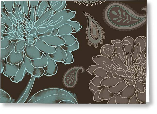 Paisley Blue Fabric Greeting Cards - Mocha and Paisley Greeting Card by Mindy Sommers