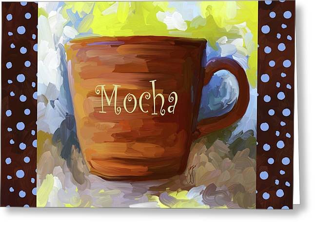 Mocha Coffee Cup With Blue Dots Greeting Card by Jai Johnson