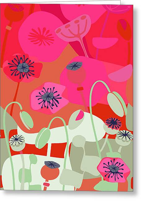 Watermelon Drawings Greeting Cards - Mod Red Poppies Greeting Card by CR Leyland