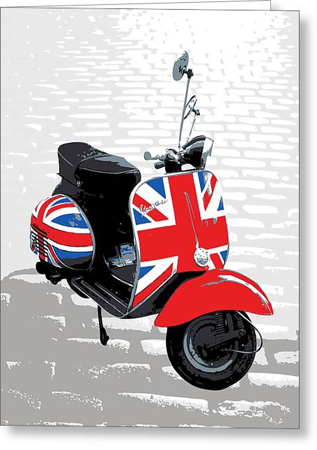 Red Digital Art Greeting Cards - Mod Scooter Pop Art Greeting Card by Michael Tompsett
