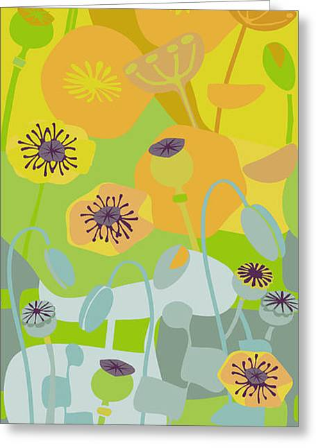 Melon Drawings Greeting Cards - Mod Yellow Poppies Greeting Card by CR Leyland