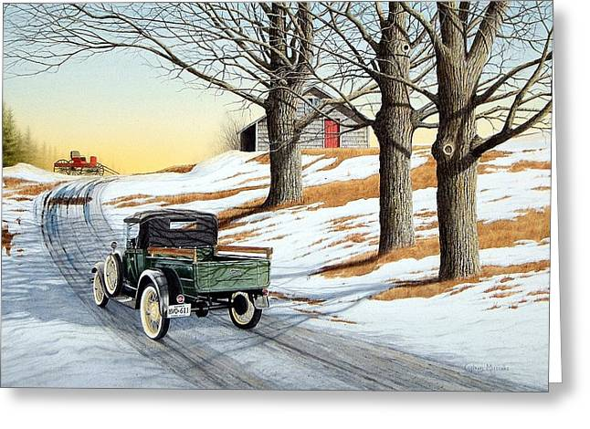 Cards Greeting Cards - Model A 1929 Greeting Card by Conrad Mieschke