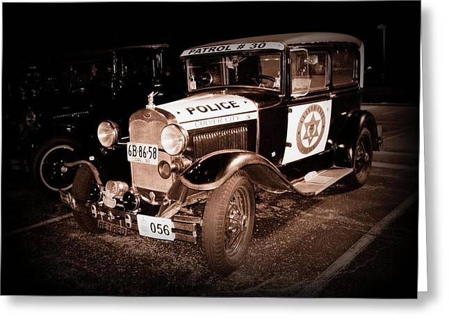 Police Cruiser Greeting Cards - Model A Culver City Police BW Greeting Card by David Dunham