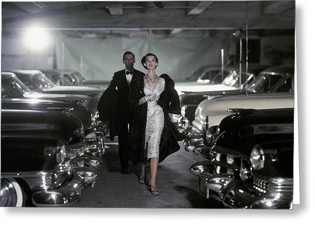 Ball Gown Greeting Cards - Model Barbara Mullen In Parking Garage Greeting Card by Conde Nast