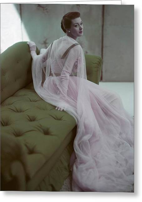 Ball Gown Greeting Cards - Model Barbara Mullen Is Wearing A Pink Greeting Card by Conde Nast