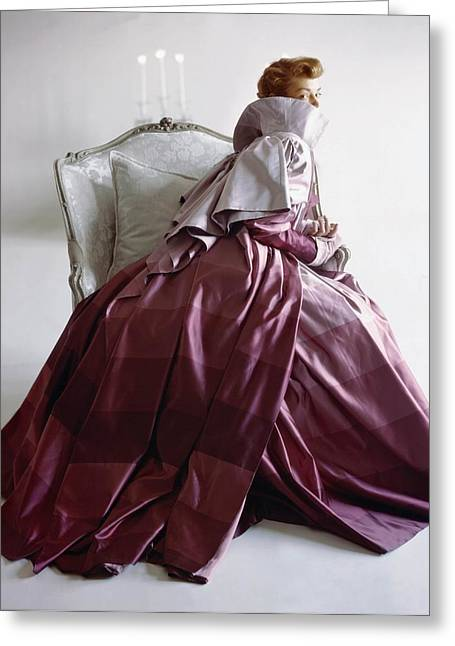 Ball Gown Greeting Cards - Model In Adrian Coat Of Rymond-holland Greeting Card by Conde Nast