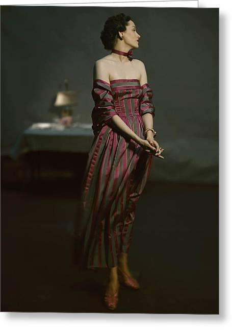 Ball Gown Greeting Cards - Model Is Wearing A Long Grey Greeting Card by Conde Nast