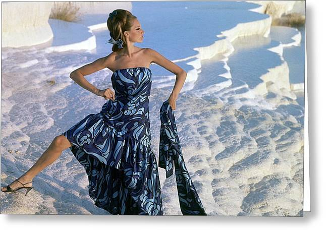 Ball Gown Greeting Cards - Model, Near The Chalk-water Basins Greeting Card by Conde Nast