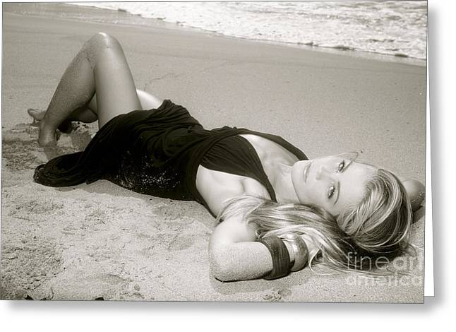 Model on Beach Greeting Card by Kicka Witte - Printscapes