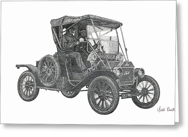 Ford Model T Car Greeting Cards - Model T Ford Pointillism Drawing Greeting Card by Mike Oliver