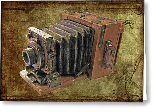 Mahogany Red Greeting Cards - Model vintage Field camera Greeting Card by Kenneth William Caleno