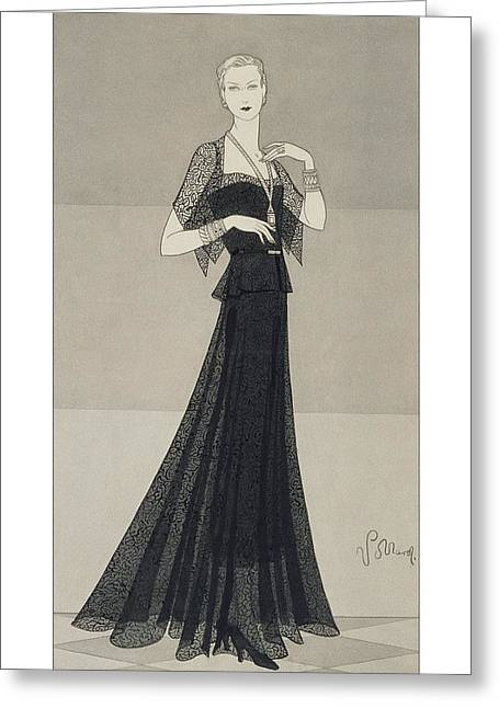 Ball Gown Greeting Cards - Model Wearing A Black Lace Dress Greeting Card by Conde Nast