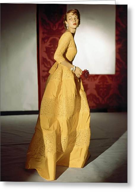 Ball Gown Greeting Cards - Model Wearing A Lemon Yellow Evening Greeting Card by Conde Nast