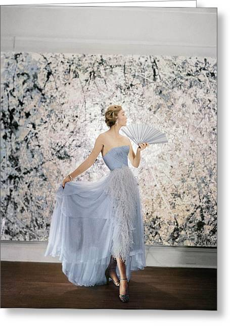 Model Wearing A Pale Blue Ball Gown Greeting Card by Conde Nast