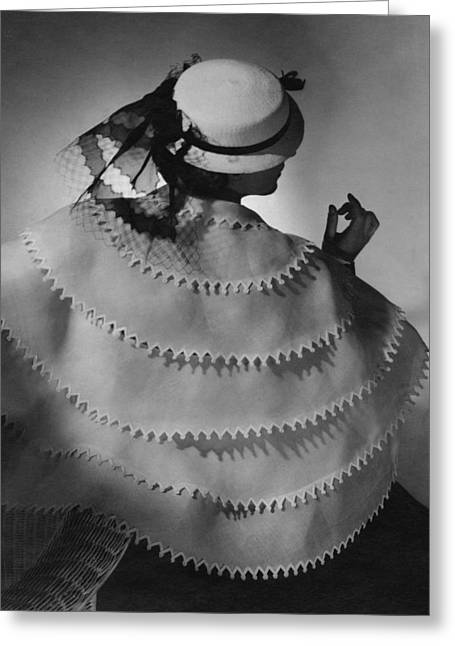 Ball Gown Greeting Cards - Model Wearing A White Sailor Hat Greeting Card by Conde Nast