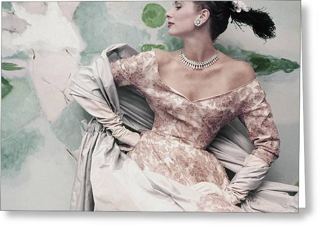 Ball Gown Greeting Cards - Model Wearing Balenciagas Short Sleeved Greeting Card by Conde Nast
