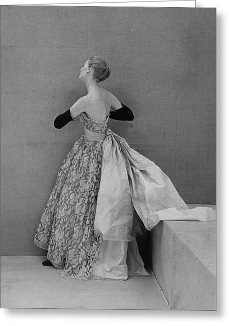 Ball Gown Greeting Cards - Model Wearing Strapless Lace And Satin Greeting Card by Conde Nast