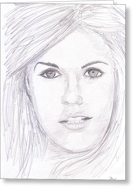 Graphite Poster Greeting Cards - Model with blond hair Greeting Card by Jose Valeriano