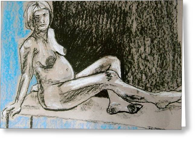 Life Drawing Pastels Greeting Cards - Model With Child Greeting Card by Joanne Claxton