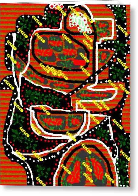 Abstract Digital Pastels Greeting Cards - Modern Abstract Catus 1 no.1 V b Greeting Card by Gert J Rheeders