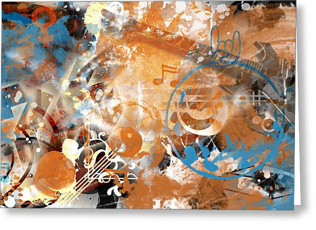 Positive Mixed Media Greeting Cards - Modern-Art Beyond Control II Greeting Card by Melanie Viola