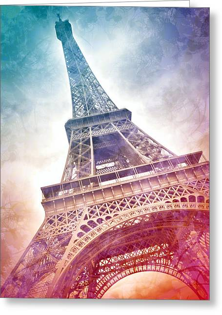 Orange Greeting Cards - Modern-Art EIFFEL TOWER 21 Greeting Card by Melanie Viola